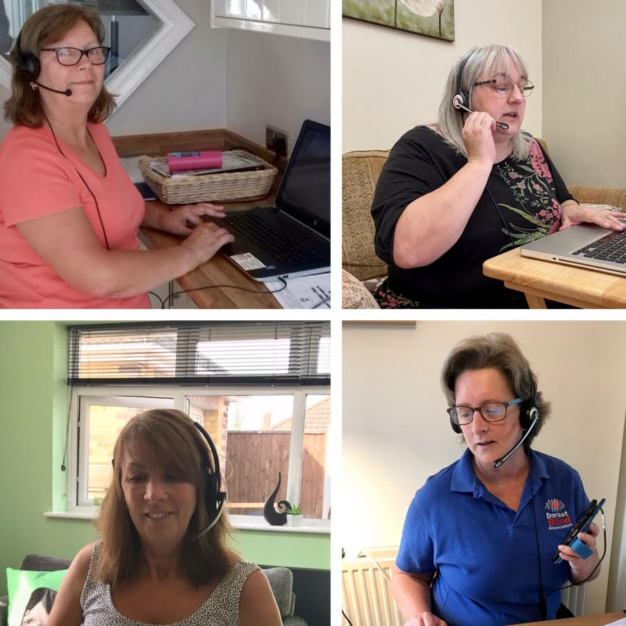 Image shows a collage of Gill, Leah, Bev and Moira working from home on their computers wearing headphones and making calls